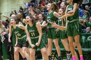 The Shenendehowa bench celebrates a basket against Saratoga in the Section II, Class AA finals at Hudson Valley Community College in Troy NY on Saturday, March 7, 2020 (Jim Franco/Special to the Times Union.)