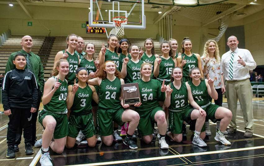 The Shenendehowa girls' basketball team got to celebrate a sectional title over Saratoga, even though state competition was called off. (Jim Franco/Special to the Times Union.)