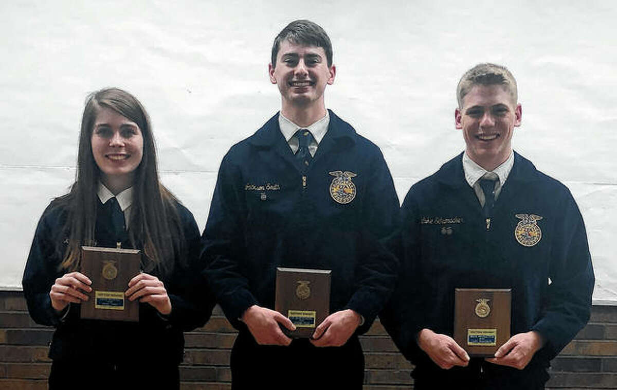 Franklin FFA members recently competed in the District 3 Proficiency Awards at Jacksonville High School. Kacey Tillery (from left) took first place in food service, Jackson Smith took first place in turf grass management and Luke Schumacher placed third in grain production. Tillery and Smith now will go on to compete March 21 during the State Awards Day at the University of Illinois.