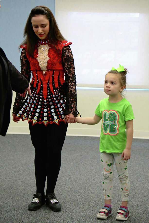 Emma Power, 4, of Fairfield, gets ready to dance at an Irish dance class at the Fairfield Library on Saturday, March, 7, 2020, in Fairfield, Conn. Photo: Jarret Liotta / Jarret Liotta / ©Jarret Liotta 2020