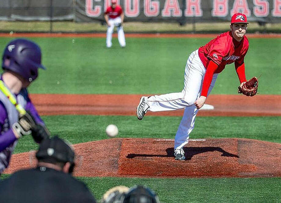 SIUE's Kenny Serwa punched out 14 Tennessee Tech hitters as the Cougars defeated the Golden Eagles 5-2 in the second game of a three-game series Saturday at Roy Lee Field.