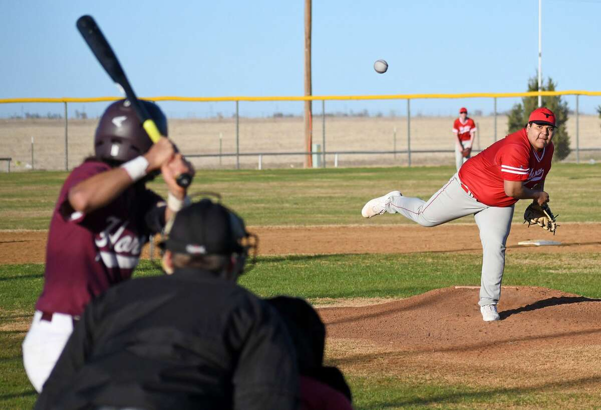 Lockney's Joshua Jimenez fires a pitch to the plate to Tulia batter Brayden Franco during their high school baseball game on Thursday, March 5, 2020 at Tulia as part of the Tulia Wooden Bat Tournament.