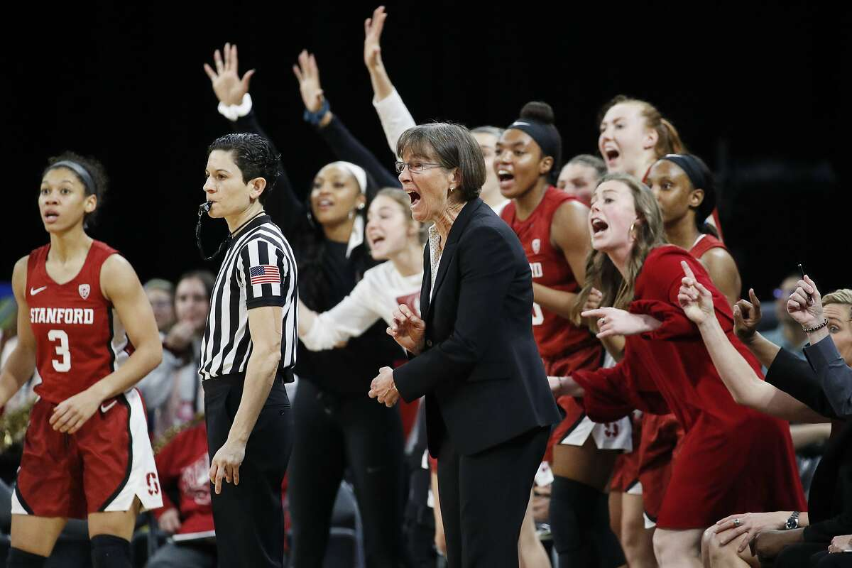 Stanford head coach Tara VanDerveer rects with her team during the second half of an NCAA college basketball game against UCLA in the semifinal round of the Pac-12 women's tournament Saturday, March 7, 2020, in Las Vegas. (AP Photo/John Locher)