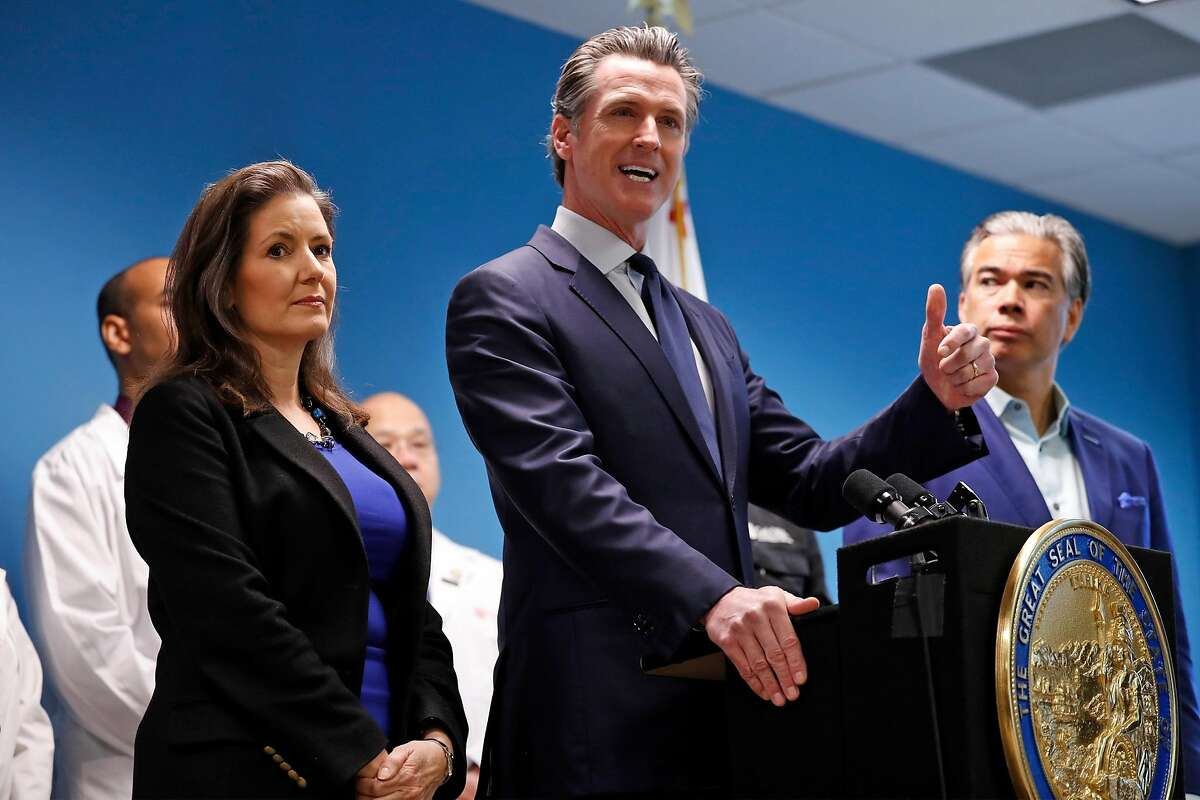 California Governor Gavin Newsom and Oakland Mayor Libby Schaaf give update on Grand Princess cruise ship in Oakland, Calif., on Sunday, March 8, 2020.