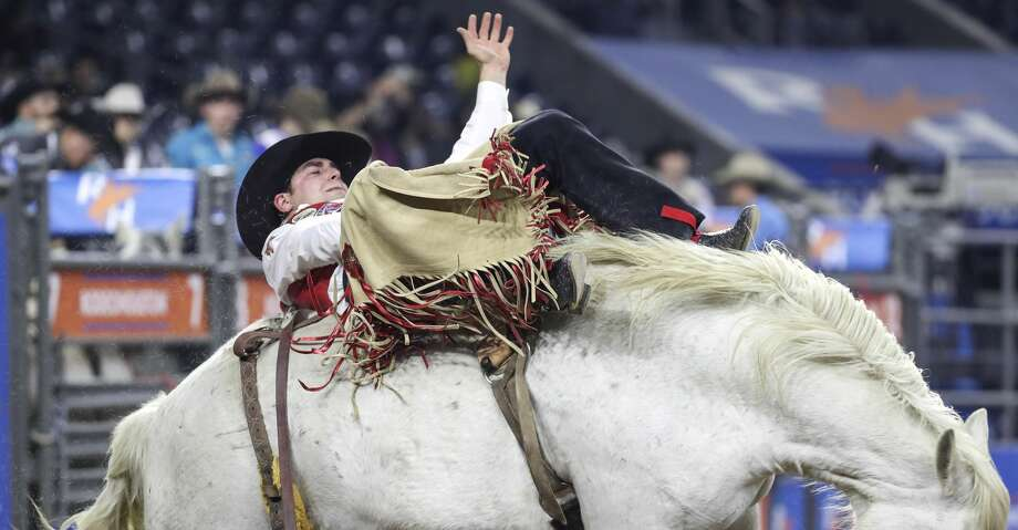 Paden Hurst competes in the bareback riding event in Round 1 of Super Series II at the Houston Livestock Show and Rodeo on Friday, March 6, 2020, at NRG Stadium in Houston. Photo: Jon Shapley/Staff Photographer
