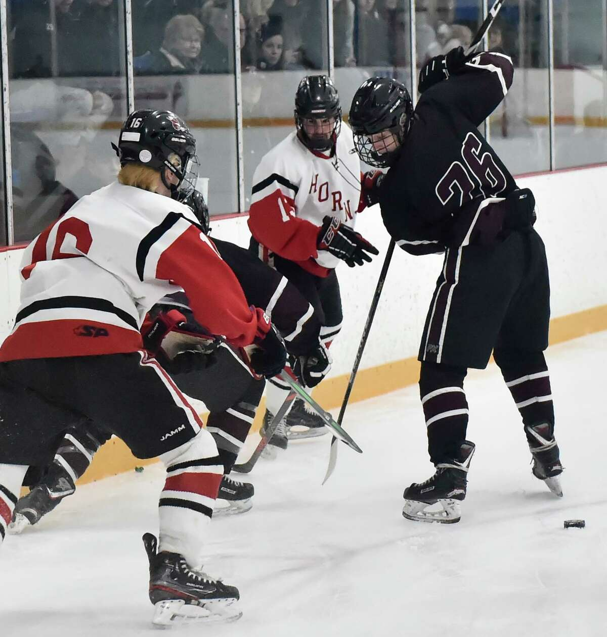 West Haven, Connecticut - Saturday, March 07, 2020: Branford H.S. vs. North Haven H.S. during the SCC/SWC 2020 Boys Ice Hockey Division II Championship Saturday at Bennett Rink in West Haven