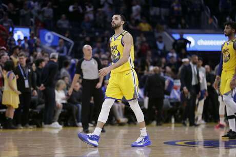 Golden State Warriors Mychal Mulder (15) in the fourth quarter of an NBA game against the Philadelphia 76ers at Chase Center on Saturday, March 7, 2020, in San Francisco, Calif. The Warriors won 118-114.