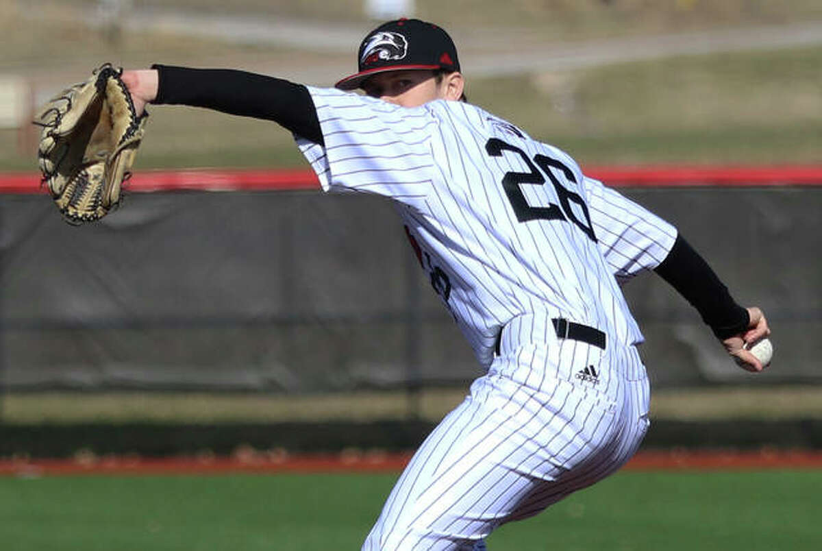 SIUE's Brayden Bone delivers to the plate during his scoreless eighth inning of relief Sunday afternoon in the Cougars' win over Tennessee Tech at the Simmons Baseball Complex in Edwardsville. SIUE swept the three-game OVC baseball series.
