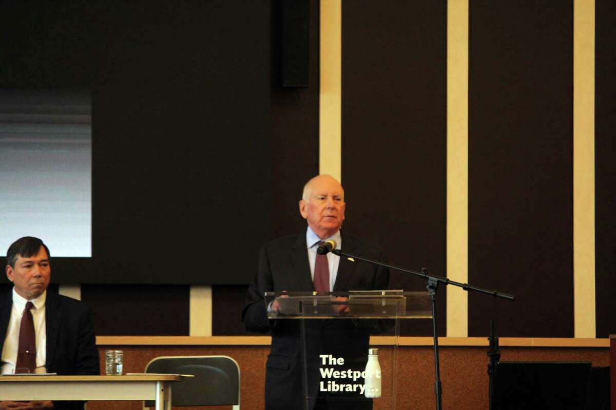 First Selectman Jim Marpe speaks at a forum on the coronavirus held at the Westport Library on Sunday.