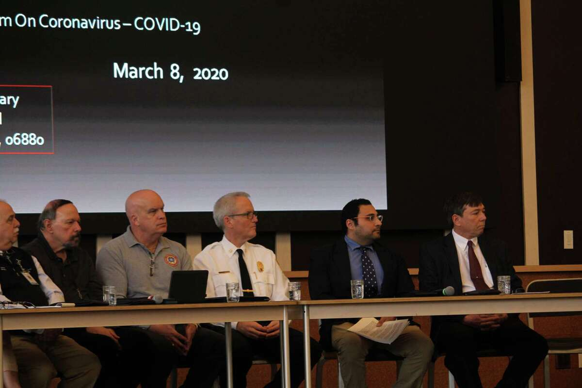 A panel of officials attended the forum on the Corona Virus in the Westport Library to answer residents' questions. Taken March 8, 2020 in Westport, Conn.