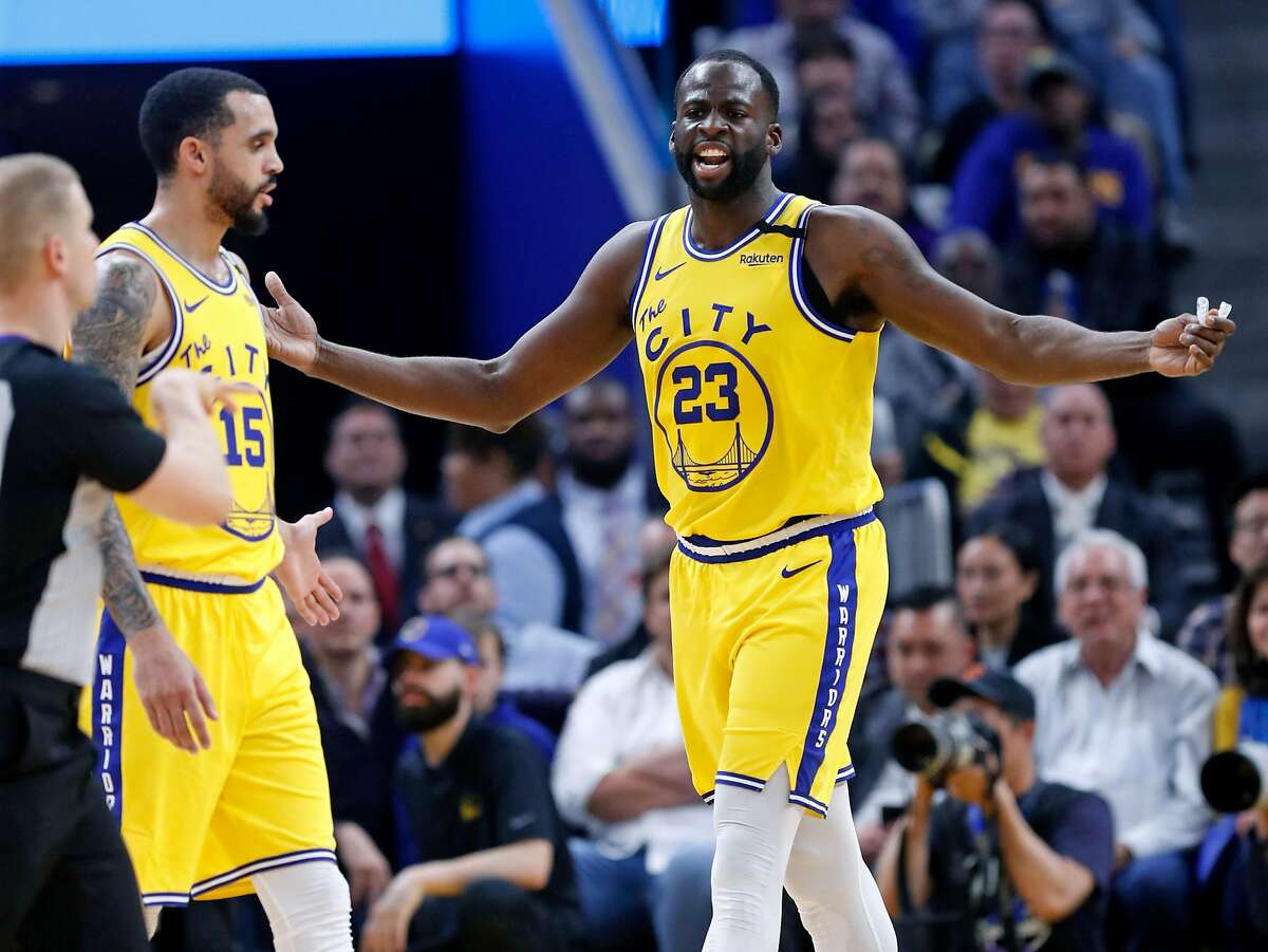 Golden State Warriors' Draymond Green complains while getting one of his two technical fouls leading to a 2nd quarter ejection while playing Los Angeles Lakers in NBA game at Chase Center in San Francisco, Calif., on Thursday, February 27, 2020.