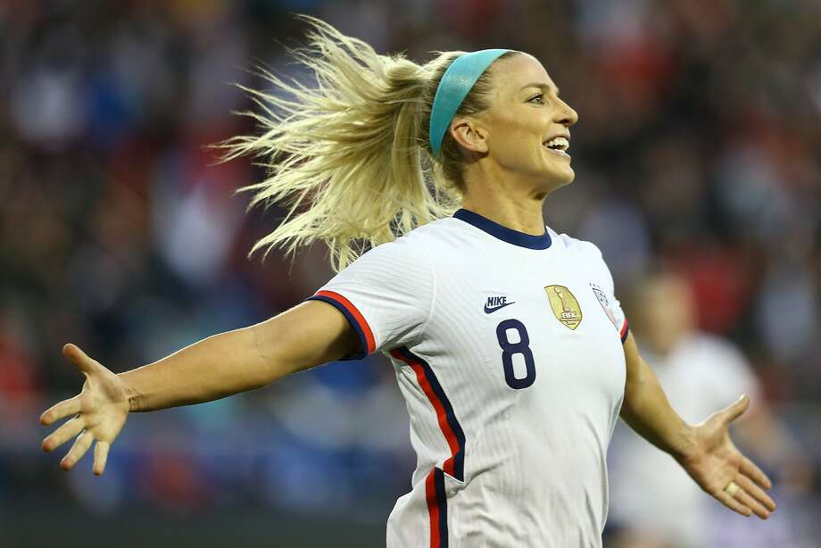 Julie Ertz celebrates her late goal against Spain at sold-out Red Bull Arena in Harrison, New Jersey. The World Cup champions extended their unbeaten streak to 30 games. Photo: Mike Stobe / Getty Images