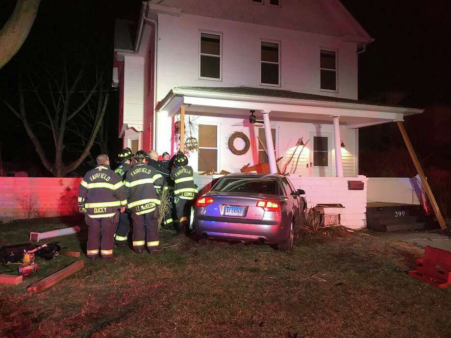 A car crashed into the front porch of a house on South Benson Road. March 7, 2020. Photo: / Fairfield Fire Department