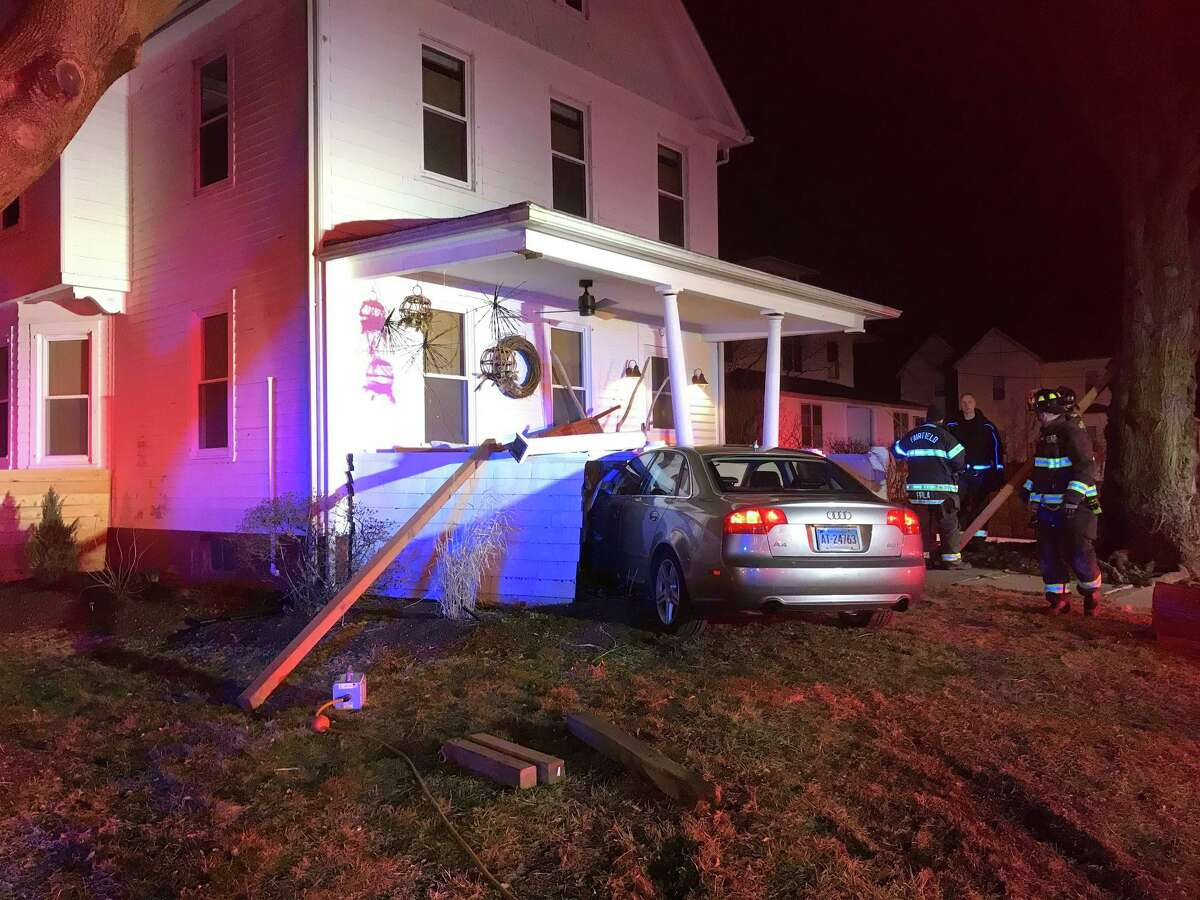 A car crashed into the front porch of a house on South Benson Road. March 7, 2020.