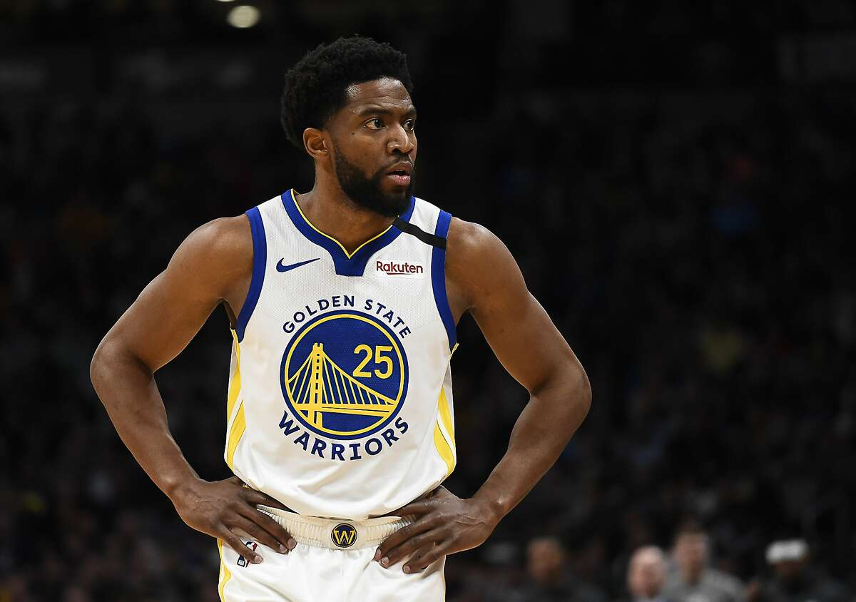 Golden State Warriors Chasson Randle (25) checks in during the second half of the team's NBA basketball game against the Denver Nuggets on Tuesday, March 3, 2020, in Denver. The Warriors won 116-100. (AP Photo/John Leyba)