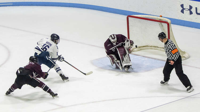 Union goaltender Darion Hanson with a sensational save of a short handed breakaway shot by Yale's Teddy Wooding deep in the third period of a playoff game on Sunday, March 8, 2020. (Steve Musco / Special to the Times Union)