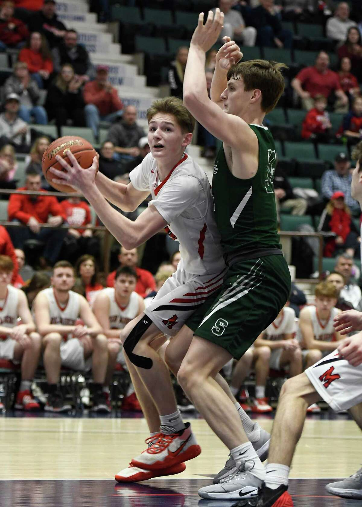 Schalmont's Shane O'Dell pressures Mechanicville's Josh Germain during the Class B Sectional Final at Cool Insuring Arena in Glens Falls, N.Y., on Friday, Mar. 6, 2020. (Jenn March, Special to the Times Union)