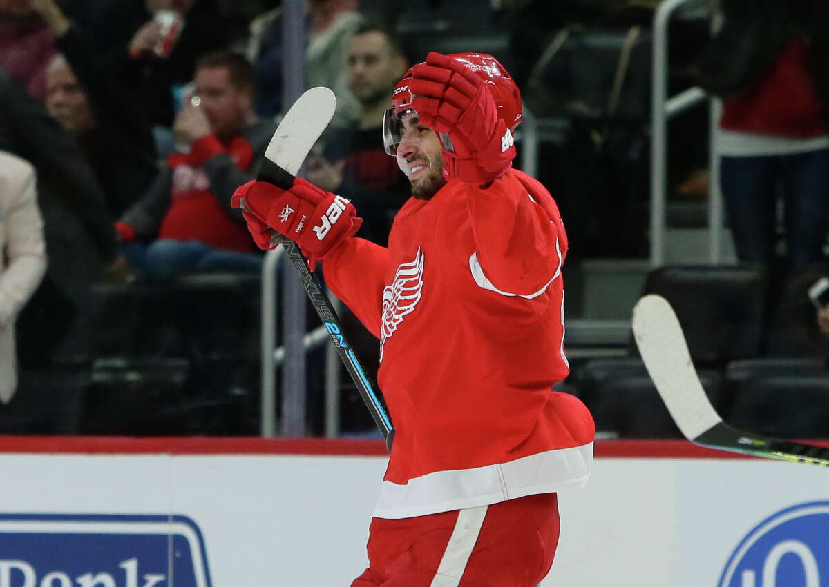 Detroit Red Wings center Robby Fabbri celebrates his first-period goal against the Tampa Bay Lightning during an NHL hockey game Sunday, March 8, 2020, in Detroit. (AP Photo/Duane Burleson)