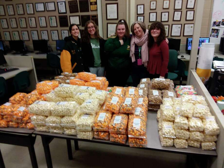 Journalism and English teacher Cammie Hall said the students sold 244 bags of popcorn from Pop Pops Gourmet Popcorn in Midland.