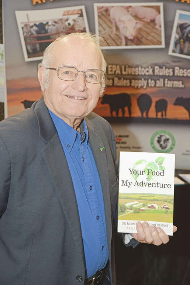 "Phil Bradshaw and his memoir, ""Your Food, My Adventure: One Farmer's Journey to Feed the World."" Photo: David Blanchette 