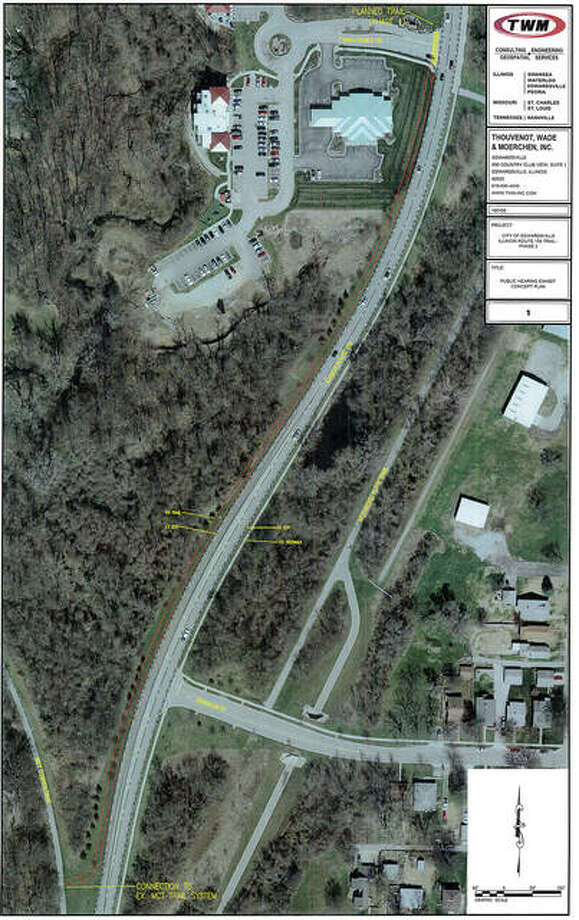 This aerial photo of Plum Streeet/Route 159 between Terre Verde Drive and Franklin Street shows where the second phase of a shared-use path would go. If funded and approved, it would link the West Magnolia Street with the MCT Trail system without the need to cross 159. Photo: Courtesy City Of Edwardsville
