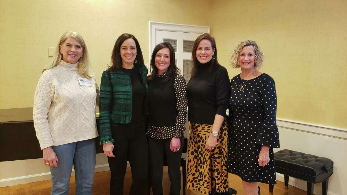 Darien First Selectman Jayme Stevenson, along with representatives of the three charities who gave presentations, at the 100 Who Care Darien event. The charities that presented at the March 4 meeting were Woofgang & Company, the Mayor's Youth Employment program and Filling in the Blanks.