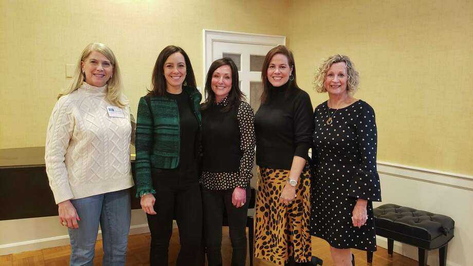 Darien First Selectman Jayme Stevenson, along with representatives of the three charities who gave presentations, at the 100 Who Care Darien event. The charities that presented at the March 4 meeting were Woofgang & Company, the Mayor's Youth Employment program and Filling in the Blanks. Photo: Sandra Diamond Fox / Hearst Connecticut Media / Connecticut Post