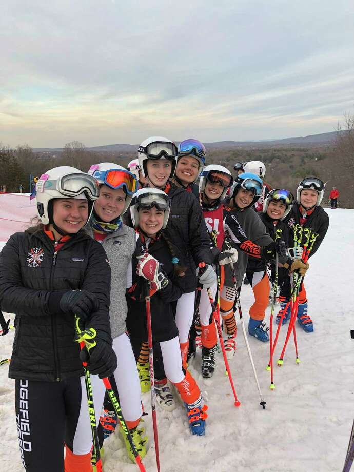 The Ridgefield girls ski team finished second at the State Open championship on Monday at Mount Southington. Photo: RHS Ski Team / Contributed Photo