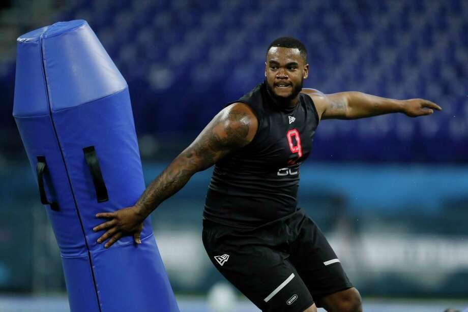 Missouri defensive lineman Jordan Elliott runs a drill at the NFL football scouting combine in Indianapolis, Saturday, Feb. 29, 2020. (AP Photo/Charlie Neibergall) Photo: Charlie Neibergall, Associated Press / Copyright 2020 The Associated Press. All rights reserved.