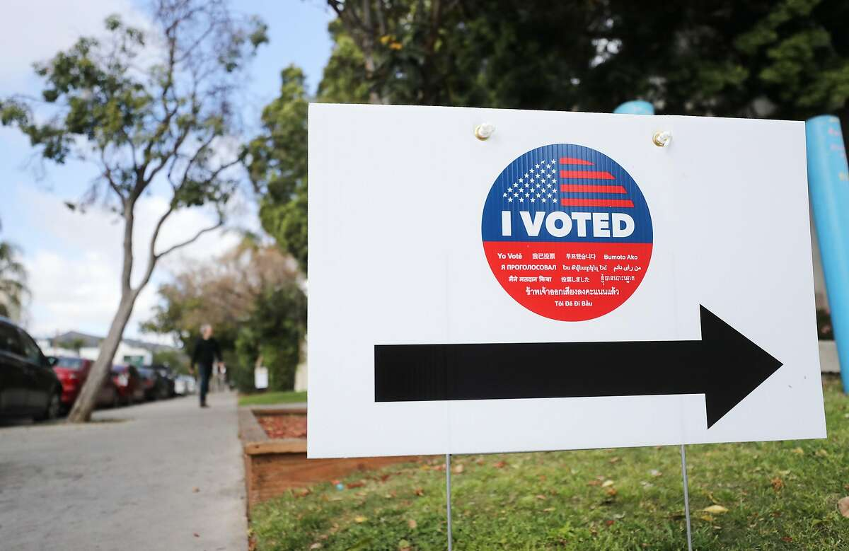 LOS ANGELES, CALIFORNIA - MARCH 01: A sign reads 'I Voted' during early voting for the California presidential primary election outside an L.A. County 'vote center' on March 1, 2020 in Los Angeles, California. Los Angeles County and 14 other counties in California have transitioned from traditional polling places to vote centers which allow residents the freedom to vote at any voting center in their county. California is one of 14 states participating in the Super Tuesday vote on March 3. (Photo by Mario Tama/Getty Images)