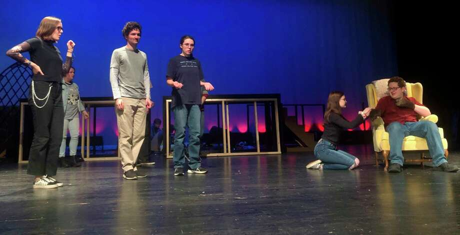 "Students from the Manistee Middle/High School drama program rehearse a scene from their upcoming production of ""Beauty and the Beast."" (Courtesy photo)"