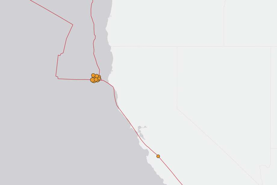 A swarm of aftershocks followed a Magnitude 5.9 earthquake off the coast of Northern California. The earthquake hit at 6:59 PM local time at a depth of 1 and 1/2 miles. Photo: USGS