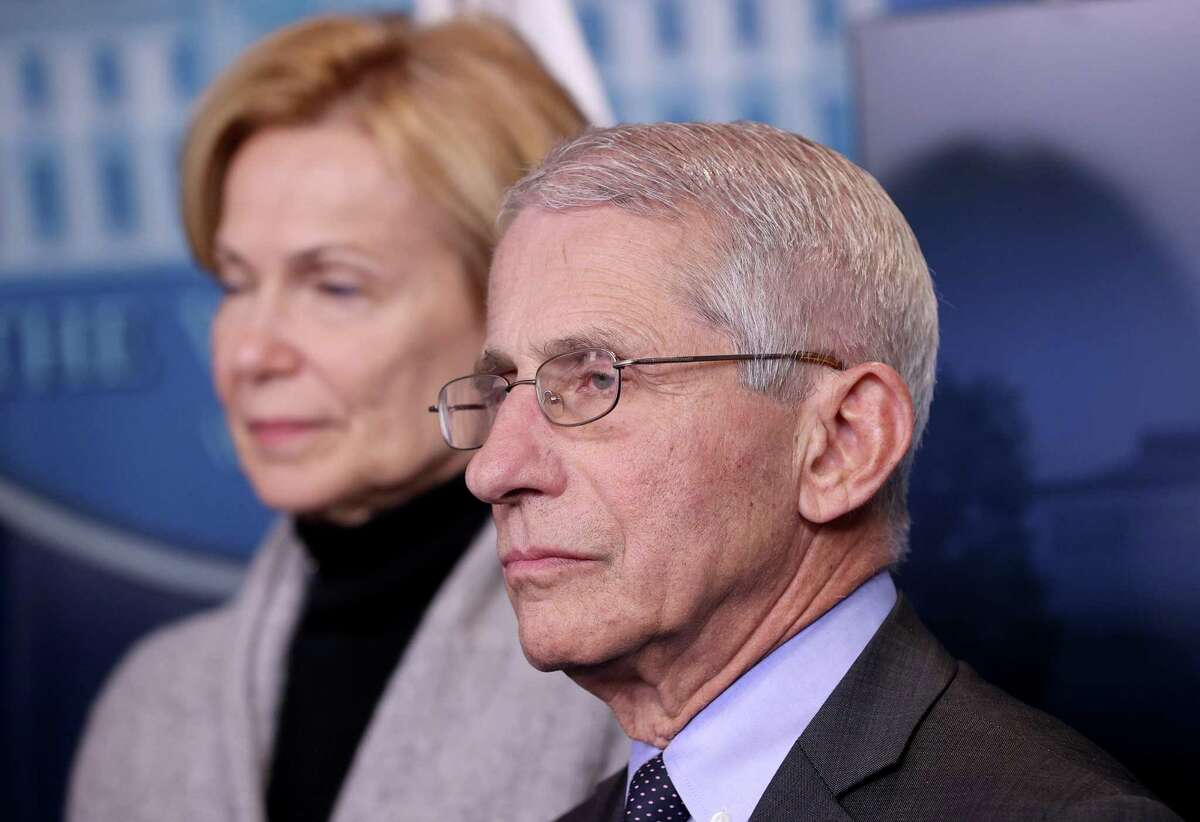 Director of the National Institute of Allergy and Infectious Diseases Dr. Anthony Fauci joins members of the Coronavirus Task Force hold a press briefing at the White House on Friday.