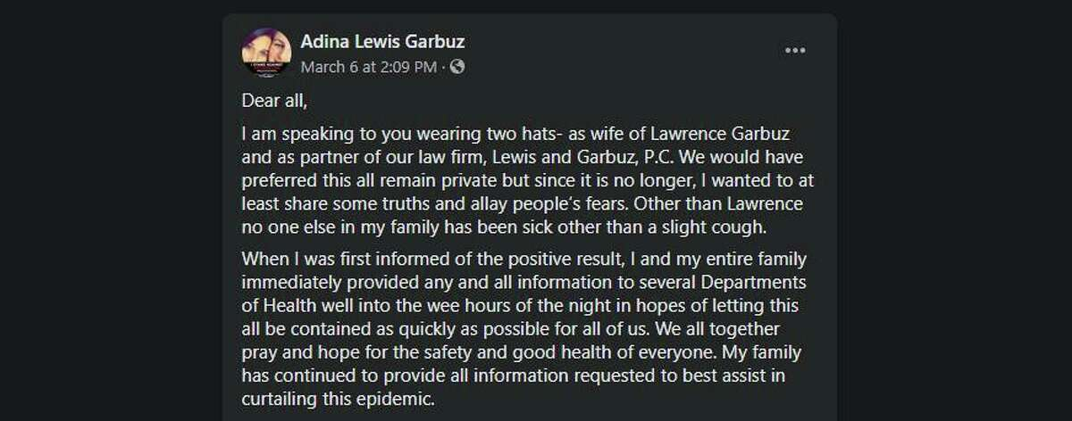 Adina Garbuz, the wife of the New Rochelle attorney, Lawrence Garbuz, who is at the epicenter of the New Rochelle outbreak of the coronavirus, spoke up in statement on Facebook.