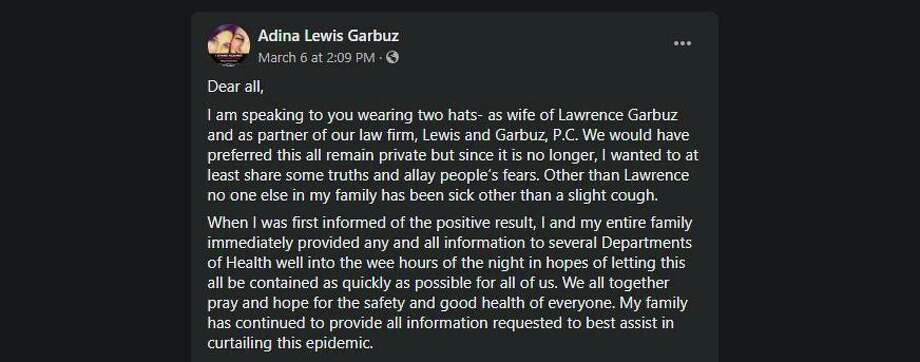Adina Garbuz, the wife of the New Rochelle attorney, Lawrence Garbuz, who is at the epicenter of the New Rochelle outbreak of the coronavirus, spoke up in statement on Facebook. Photo: Screenshot