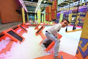 Edis Calderin, 3, completes the Warrior Course at the Urban Air Trampoline and Adventure Park, Katy, TX on Monday, March 8, 2020.