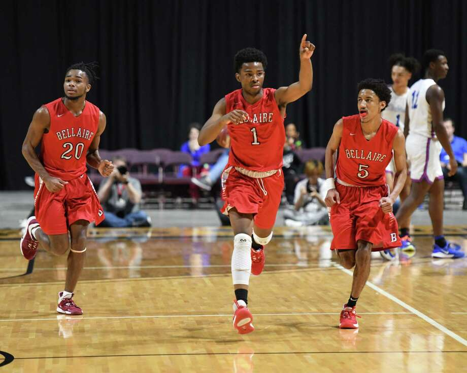 Elijah Lawrence (1) of Bellaire reacts after a 3-point basket during the second quarter of the Boys 6A Region III championship basketball game between the Bellaire Cardinals and the Dickinson Gators on Saturday, March 7, 2020 at the Berry Center, Cypress, TX. Photo: Craig Moseley, Houston Chronicle / Staff Photographer / ©2020 Houston Chronicle