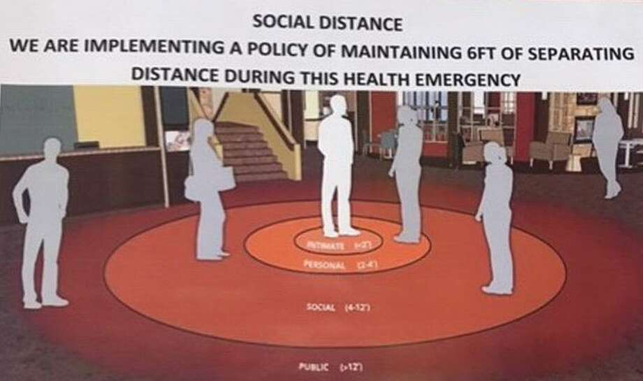 """In light of a resident contracting the coronavirus, the town of Wilton is posting """"social distancing"""" posters, recommending people maintain a distance of three to six feet from each other in social gatherings."""