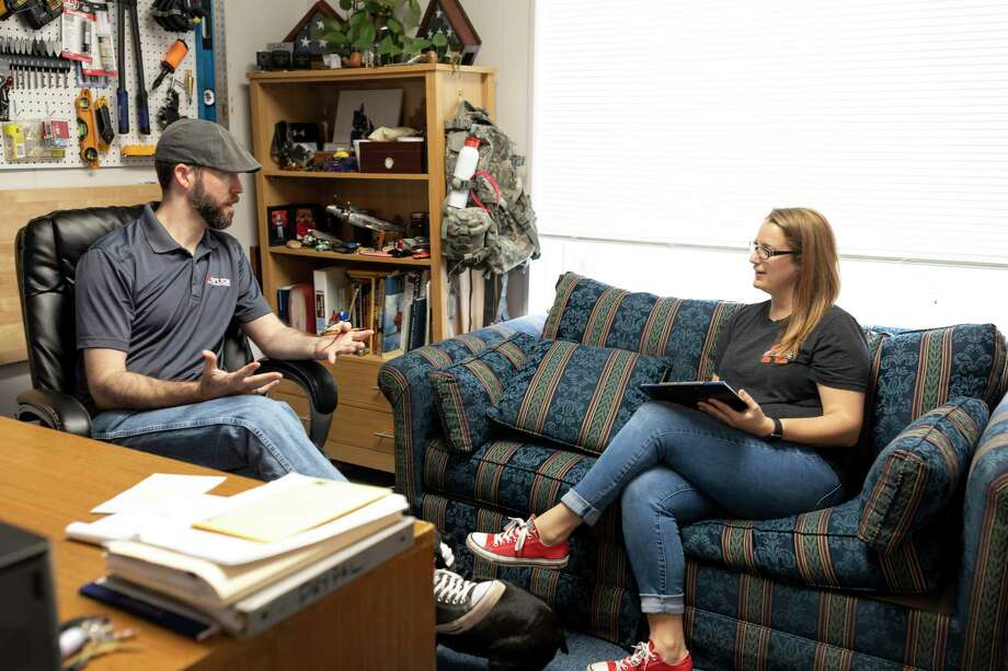 Refuge founder, Adam Wilson, and Ashley Greer discuss future plans for the facility in Conroe, Thursday, March 5, 2020. Refuge is a trauma and counseling center specializing in cognitive behavior therapy (CBT) and eye movement desensitization/reprocessing (EMDR). Photo: Gustavo Huerta, Houston Chronicle / Staff Photographer / Houston Chronicle © 2020