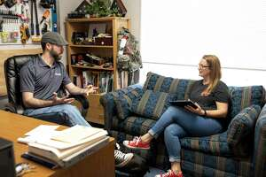 Refuge founder, Adam Wilson, and Ashley Greer discuss future plans for the facility in Conroe, Thursday, March 5, 2020. Refuge is a trauma and counseling center specializing in cognitive behavior therapy (CBT) and eye movement desensitization/reprocessing (EMDR).