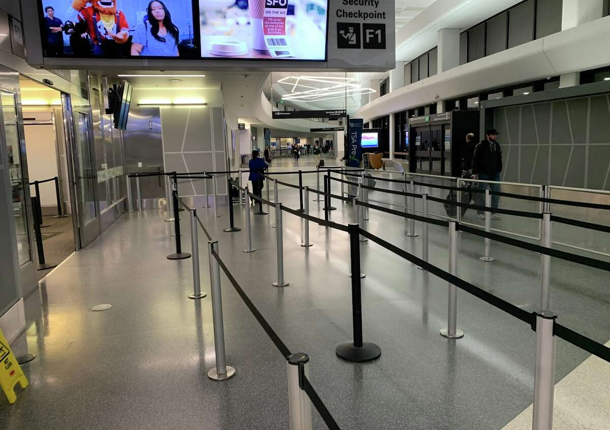 An eery quiet at San Francisco International Airport at 6:30 am on Monday morning, March 9.