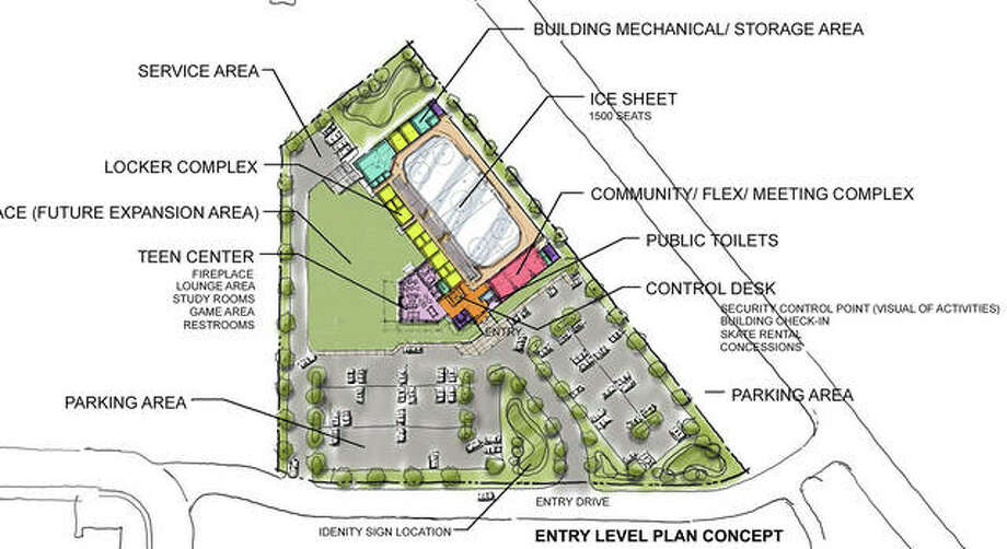The lower level of the plan concept for the REC center in Edwardsville. Photo: Courtesy Of City Of Edwardsville