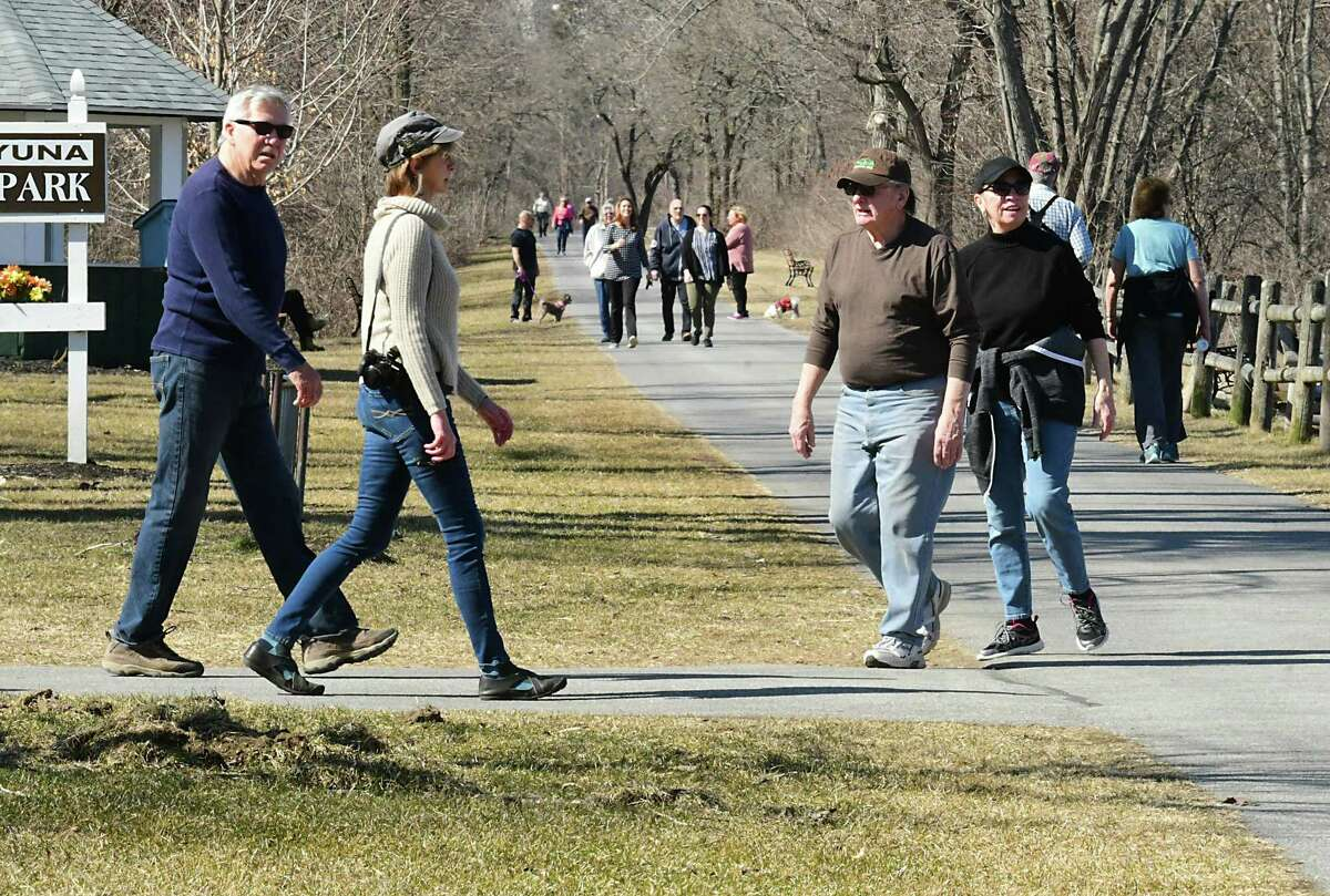 The Mohawk Hudson Hike/Bike Trail at Lions Park was crowded with walkers, bikers and rollerbladers on a warm day on Monday, March 9, 2020 in Niskayuna, N.Y. (Lori Van Buren/Times Union)