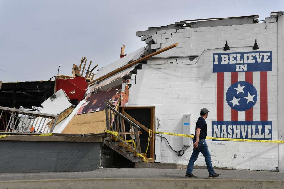 NASHVILLE, TN - MARCH 05: Damage to the Basement East music venue near the Five Points area is seen on Thursday March 05, 2020 in Nashville, TN. Tornados hit the area early Tuesday morning. (Photo by Matt McClain/The Washington Post via Getty Images) Photo: The Washington Post/The Washington Post Via Getty Im