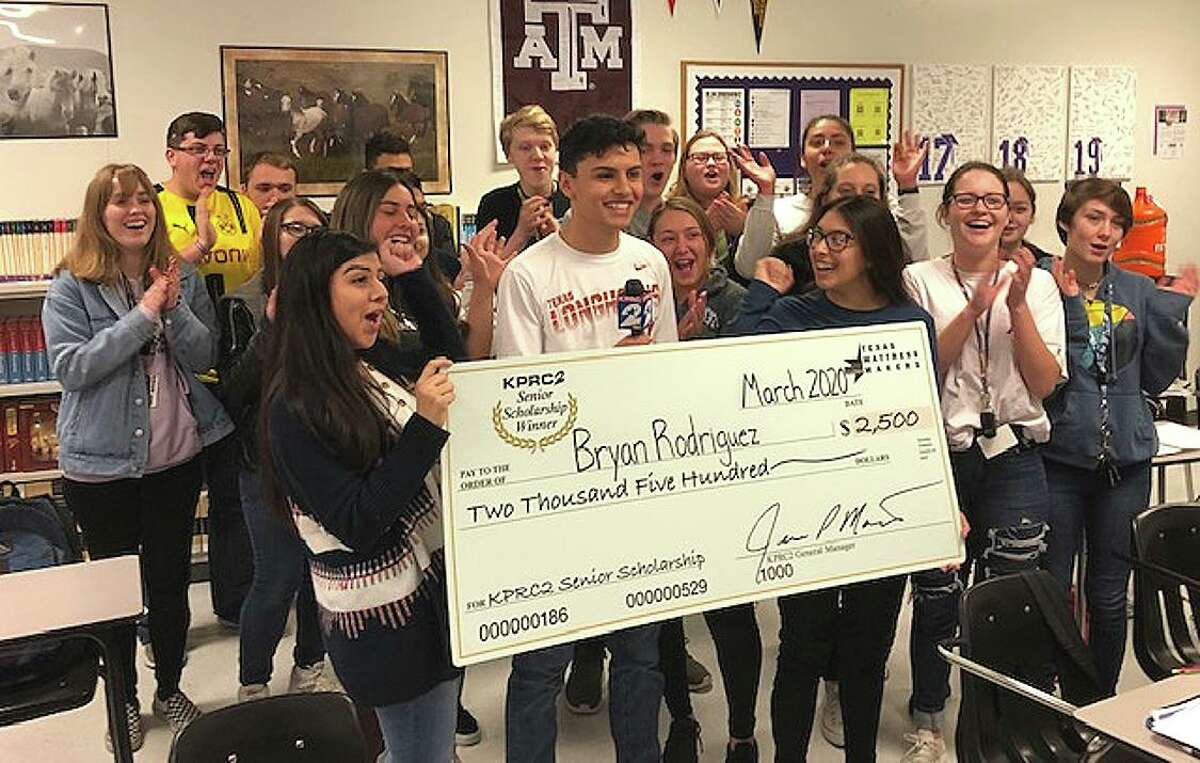 Bryan Rodriguez, surrounded by his classmates, received this $2,500 scholarship from KPRC-Channel 2 and Texas Mattress Makers.