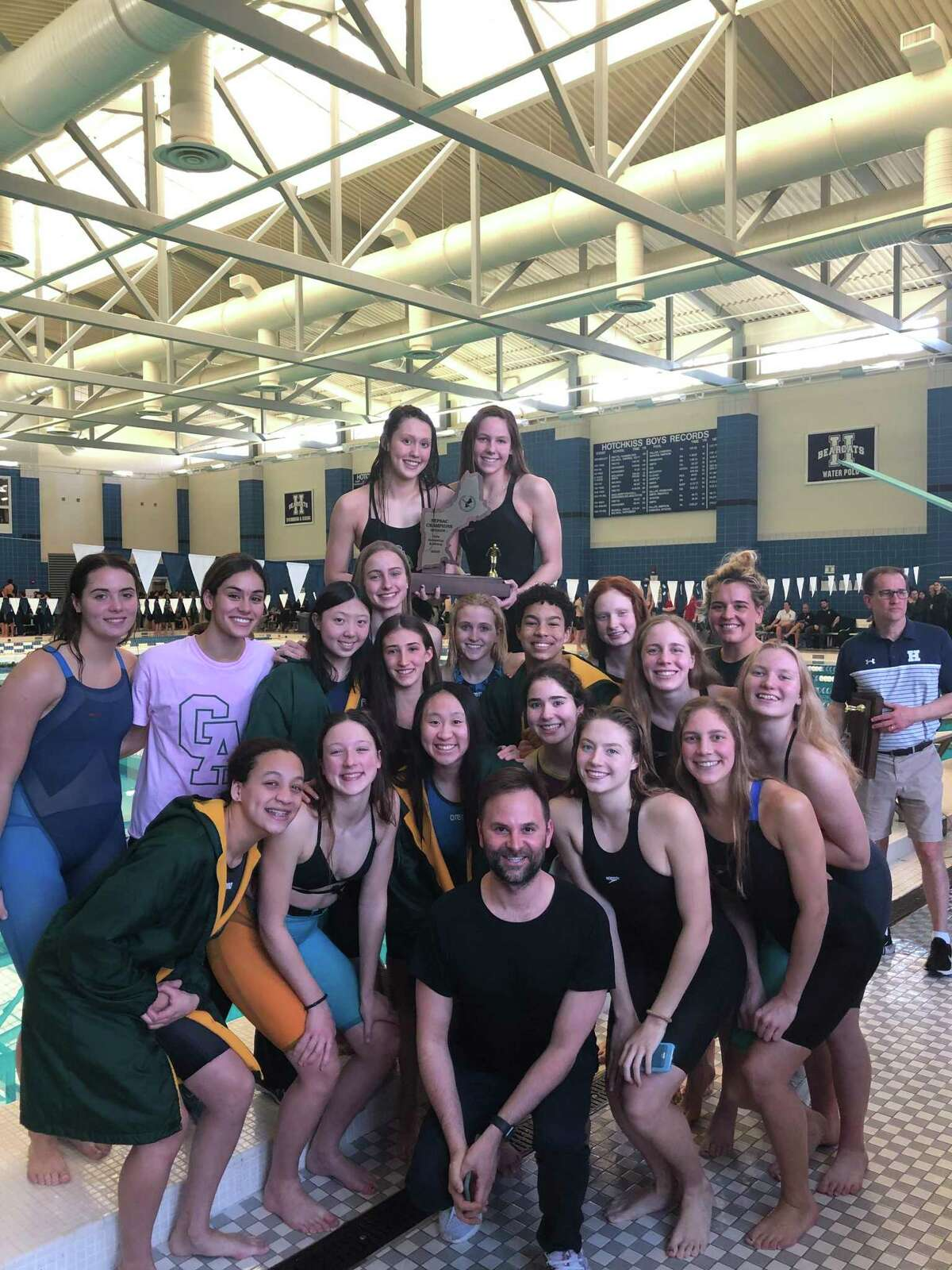 Greenwich Academy finished first in the team standings at the NEPSAC Division I Swimming Championships for the fourth straight season on Sunday, March 8, 2020, at Hotchkiss School.