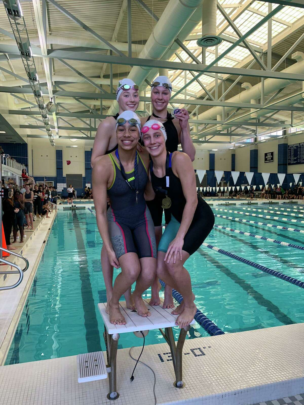 Greenwich Academy's 200-yard freestyle relay team won the title at the NEPSAC Division I Championships on Sunday, March 8, 2020, at Hotchkiss School.