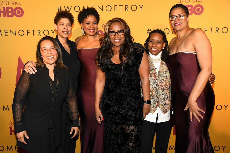 """PHOTOS: A look back at those USC teams led by Cheryl Miller and Cynthia Cooper From left to right: Rhonda Windham, Cheryl Miller, Pam McGee, Cynthia Cooper, Juliette Robinson, and Paula McGee attend the Los Angeles premiere of """"Women of Troy"""" from HBO at Ray Stark Family Theatre on February 26, 2020 in Los Angeles, California. Photo: Jeff Kravitz/FilmMagic For HBO"""