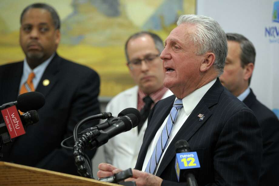 Mayor Harry Rilling speaks during a news conference at City Hall in Norwalk, Conn. March 5th, 2020. Norwalk now has the most coronavirus cases of any municipality in Connecticut as of March 27, 2020. Photo: Ned Gerard / Hearst Connecticut Media / Connecticut Post