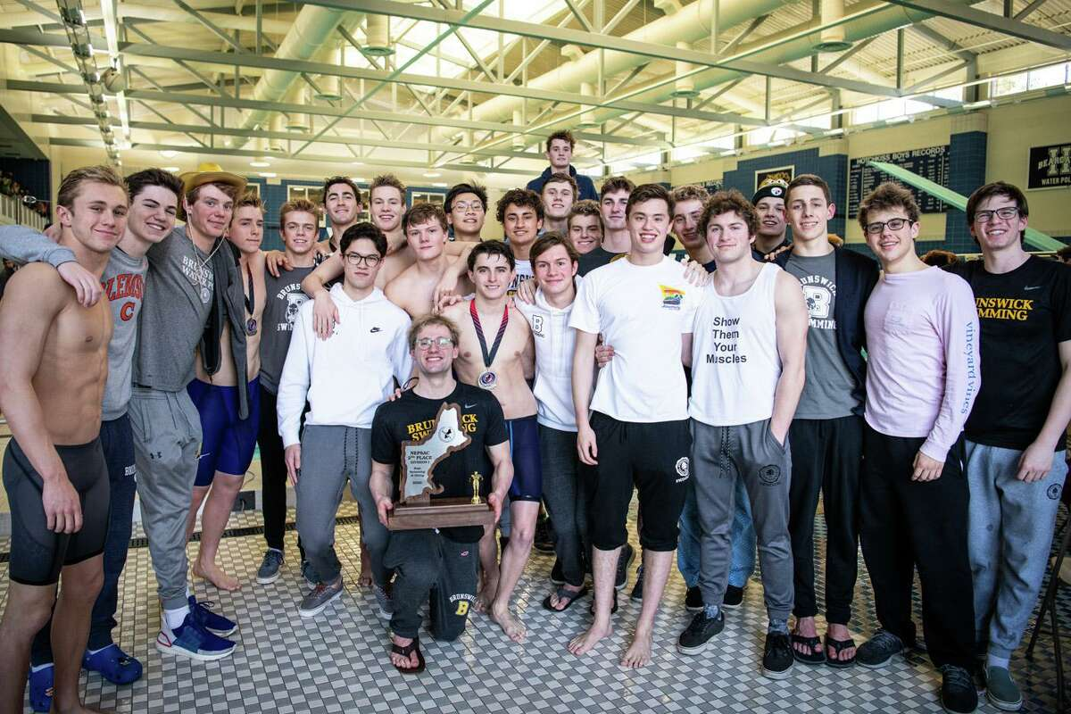 The Brunswick School swimming team placed second in the team standings at the NEPSAC Division I Championships on Sunday, March 8, 2020, at Hotchkiss School.